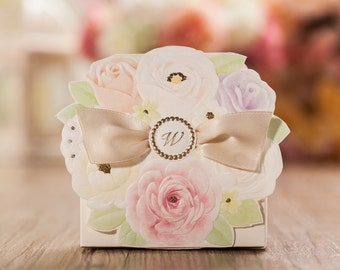 25 Wedding Favor Boxes, Wedding Party Favor Boxes, Floral Design Thank You Boxes for Guest, Sweet Box Candy Box for wedding party,