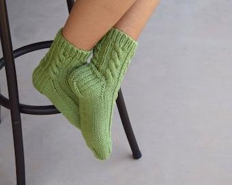 Hand knit socks cable knit socks bed socks light green womens socks gift for her handmade birthday Christmas gift under 35 warm socks