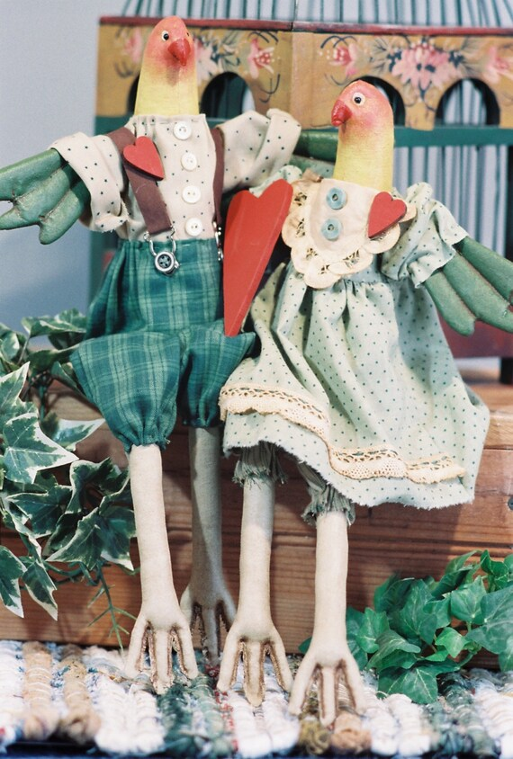 """Love Birds - Mailed Cloth Doll Pattern 16"""" Pair of Love Birds"""