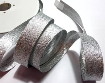Shiny sparkly silver lamé bias sold by 50 cm width 2 cm (20 mm) sold by 50 cm metal effect