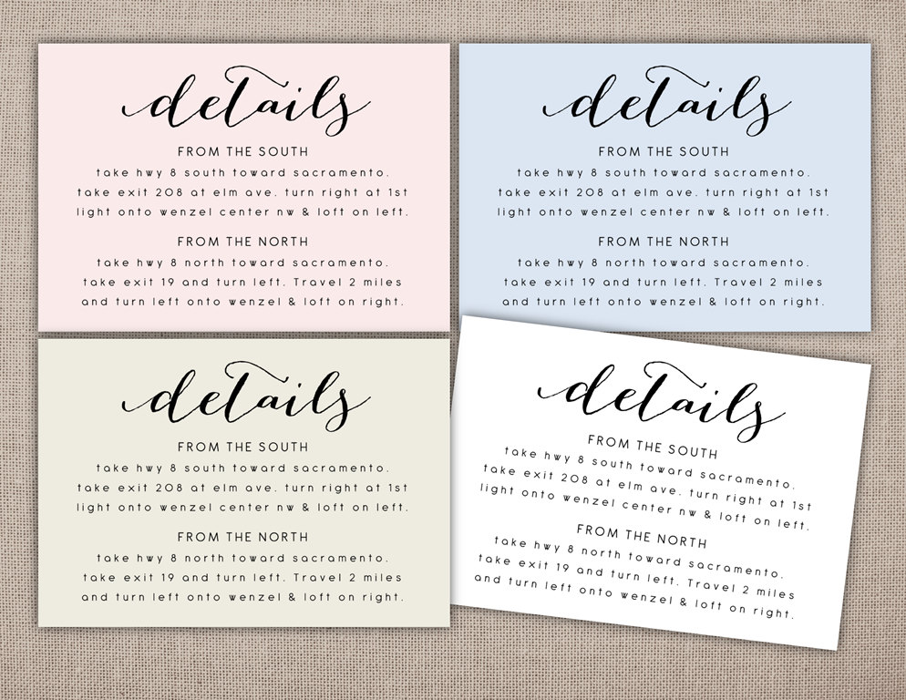 What Information To Put On A Wedding Invitation: DETAILS Printable Card Wedding Information Printables