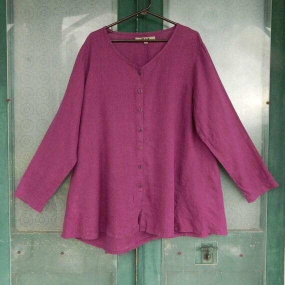 FLAX Engelheart Long Sleeve Button-Front Tunic -L- Purple Linen