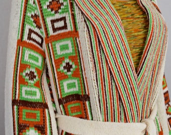 Vintage 1970's Women's Sabra Aztec Native Ethnic HiPPiE Boho HiPsTeR Knit NEON Cardigan Sweater Size M