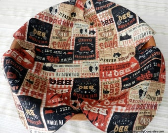 Basket Liner, Table Topper, Centerpiece, Fruit Bowl Liner, Bread Cloth, Bar-Be-Que / BBQ Signs in Rust-Black & Tan, Handmade Table Linens