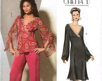 BUTTERICK 4851 sewing pattern: top, dress and pants.  Chetta B design.  Size 8-10-12-14  New.  Uncut.  Factory folded.