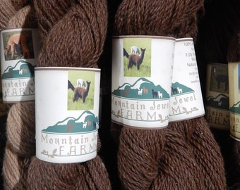 Alpaca Yarn Rich Natural Brown Worsted Weight for Knitting Crocheting or Weaving Handmade