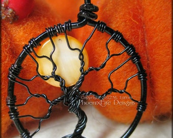 Small Halloween Full Moon Tree of Life Pendant Orange Black Wire Wrapped Jewelry Haunted Forest Harvest Moon Necklace Spooky Tree Gothic