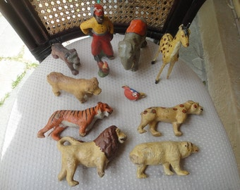 Vintage German Putz collection Composition animal toys and one man  lot of 11