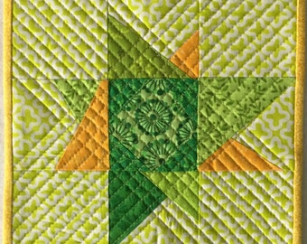 Quilted Wonky Star Green & Yellow Mug Rug