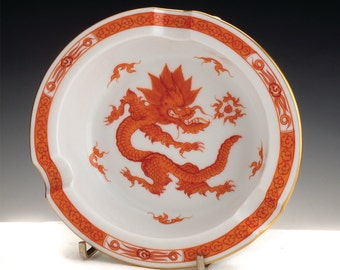 A Meissen Porcelain Ashtray Decorated In The Red Dragon Motif, C. 1970