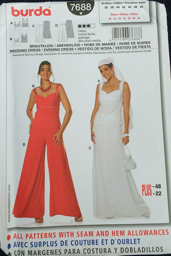 Burda Wedding Evening Dress Pattern Plus Size 7688
