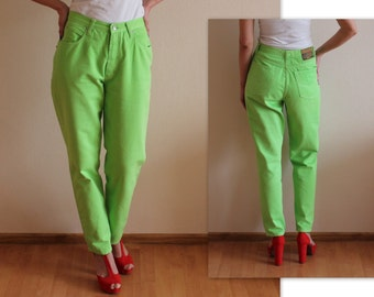 Lime Green Pants Vintage Women's Pants High Waisted Pants Tapered Leg Trousers Neon Green Bright Cotton Pants Large Size