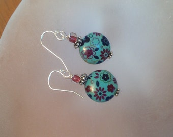 Turquoise Ceramic Earrings With Navy and Wine Flowers