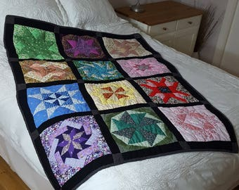Hand-sewn Patchwork Lap or Cot Quilt - Vivid Stars