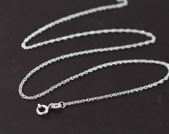 Rope Chain Necklace 925 Sterling Silver , 1.55 mm Thickness , 16 18 20 22 24 inches