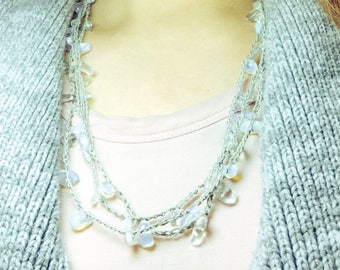 Crocheted Linen Moonstone Necklace