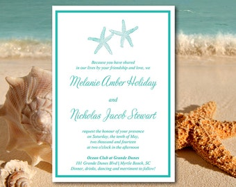 "Beach Wedding Invitation Template - Starfish Invitation Download - Deep Teal Wedding Invitation Template ""Lazy Starfish"" DIY Wedding"