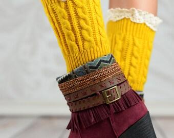 Mustard Acorn Button Boot Cuffs