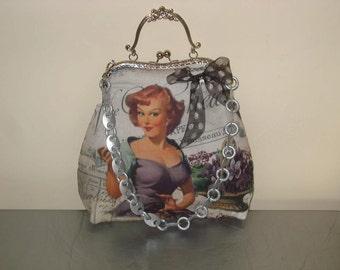 Violets pin-Up girl bag