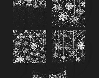 Christmas Clipart, Bokeh Snowflakes Overlays  - bokeh lights christmas glitter snowflakes holiday season digital christmas clipart