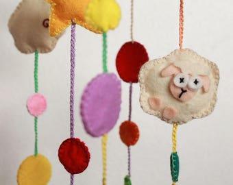 Mobile to hang with sheep, stars and polka dots