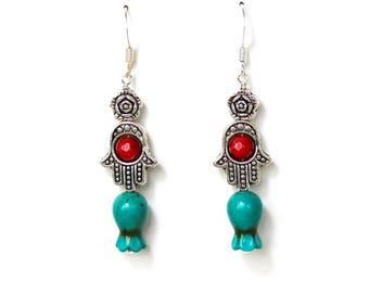 Turquoise pomegranate stone hamsa dangle silver earrings LAST ONE