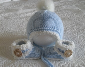 Knitted Baby Boy Hat And Booties, , Baby Boy Boots And Hat  3 to 6 Months Ready Made