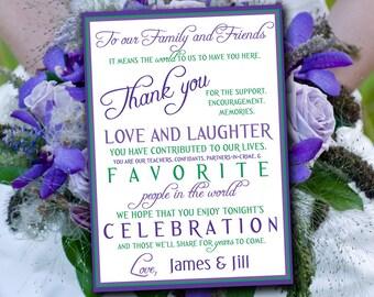 Wedding Thank You Card, Program Card, Invitation Insert - Regency Kelly Green Lighter Purple - Engagement Party Wedding Party, Bridal Shower