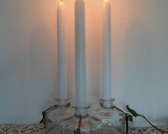 Wooden tray and its glass candle holders