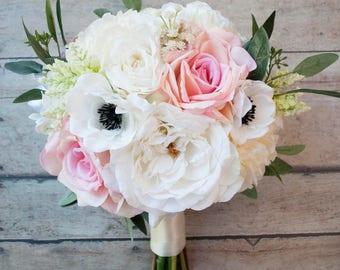 Silk Wedding Bouquet, Bridal Bouquet, Rose Bouquet, Peony Bouquet, Garden Bouquet, Boho Bouquet, Anemone Bouquet