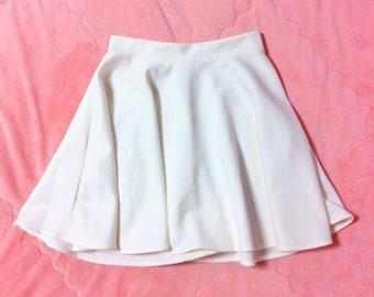 Vintage White Skater Skirt, Vintage White Skirt, Vintage White Circle Skirt, 90s Vintage Skirt, White Skirt, High Waisted Skirt