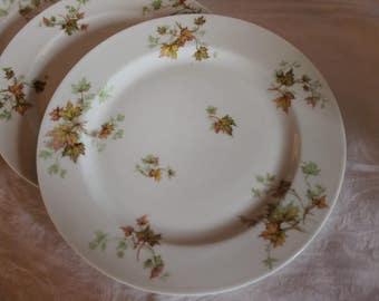 "Set of 4 Antique Haviland & Co. Limoges 9.75"" Luncheon Plates - Autumn Leaf or Leaves Pattern"