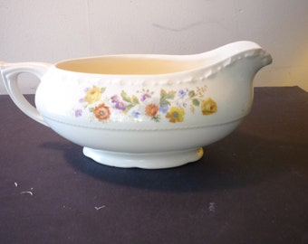 Gravy Boat - Crooksville China - Made in USA - Floral Pattern 1930s Vintage table serving pitcher  great gift housewarming