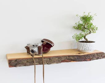 Real Bark Edge Floating Solid Oak Shelf 1.0m Wide | Solid Oak Wooden Wall Shelves | Including Floating Shelf Fixings