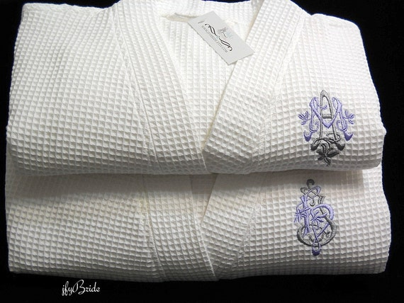 Cotton anniversary gift 2nd anniversary gift Gift for her Anniversary gift for him Personalized cotton robe jfyBride 1602ENT Set of 2 Robes XknJ2D