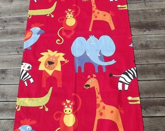 Lovely Vintage Cotton Window Curtain with Printed Animals to Children Room. Scandinavian vintage.
