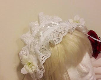 Lolita Headdress White Ribbon Flowers Elegant Lace