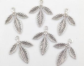 Antiqued Silver Brass Leaf, Brass Leaves, Wedding Supply, Headpiece Supply, Leaf Stamping, Brass Drop, 30mm x 25mm - 6 pcs. (sl333)