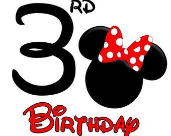 Minnie Mouse Birthday Shirt (Age 3)