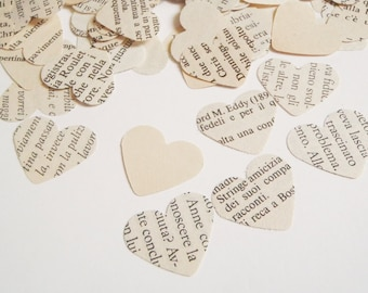 smashbook 280 vintage heart italian book paper wedding confetti upcycled word baby shower party favor scrapbook garland lasoffittadiste