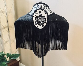 Black White Victorian BoHo Farmhouse Lampshade Gothic Lampshade Cultured Pearls