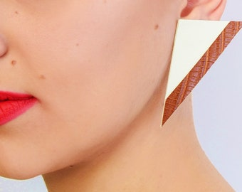 white triangle leather earrings