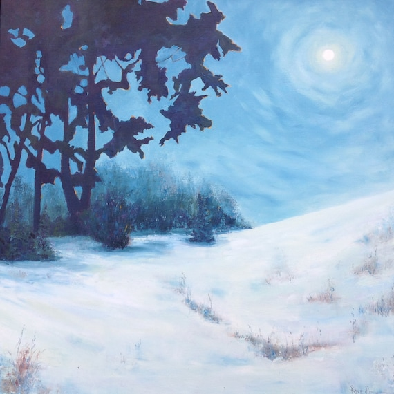 Moonlit Night, Extra Large Painting, Nocturne Art, Moon Night Painting, Winter Art, Snow Painting, Gift for Her