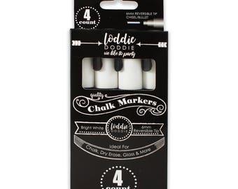 4 Count Bright White Liquid Chalk Markers by Loddie Doddie