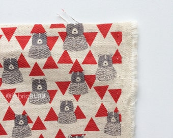 Triangle Bears in Red by Kokka Fabrics, Trefle Bears