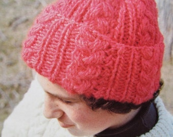 Knitted Hat PDF Pattern - Vintage Pattern, Knit Hat with Cables 2278-212