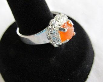 Orange Sea Glass Ring, Seaglass Adjustable Ring, Orange Beach Glass Ring, Adjustable Silver Plated, Sea Glass Jewelry, Beach Glass Jewelry