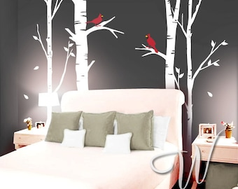 Birch Trees and Cardinal Birds - Wall Decal
