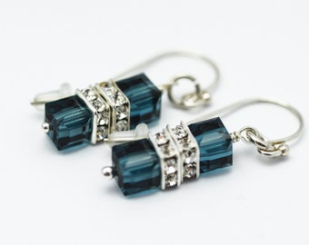 Montana Blue Earrings | Swarovski Square Crystal Earrings | Sterling Silver Blue Crystal Earrings | Ships in ONE Day