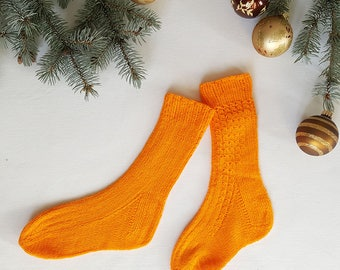 Hand knitted socks,orange color,pure wool,warm and light socks, knitted socks, wool socks,winter socks,women socks, Christmas gift